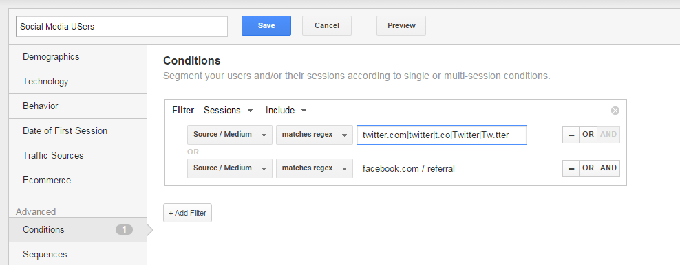 Google Analytics Segments Dark Social Media Network Accounts Acquisition Overview