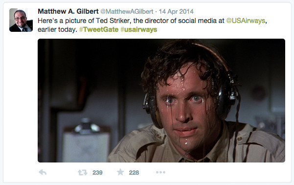 Airplane pilot from movie Airplane sweating profusely, tweeted as US Airways social media manager