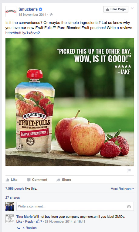Angry Facebook post from user Tina Marie on Smuckers Facebook page saying she will not buy their products until they label their GMOs
