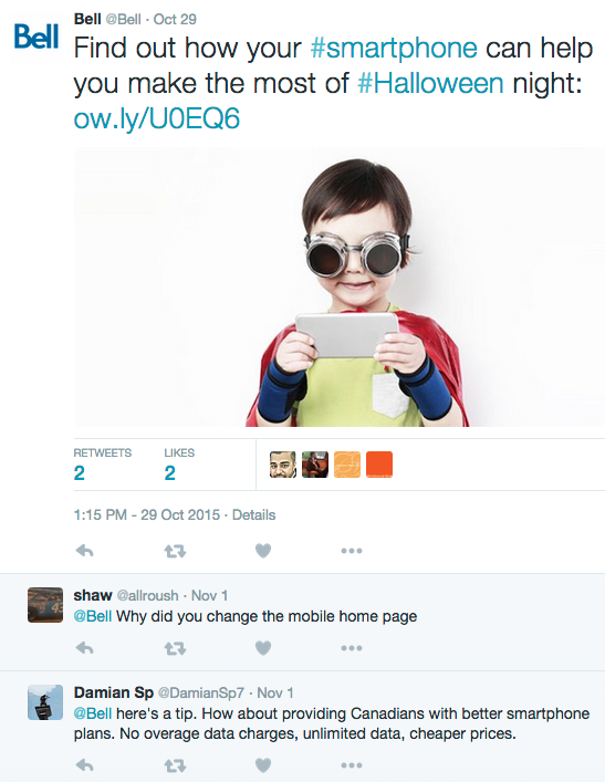 Angry commenters hijack a Bell post about Halloween