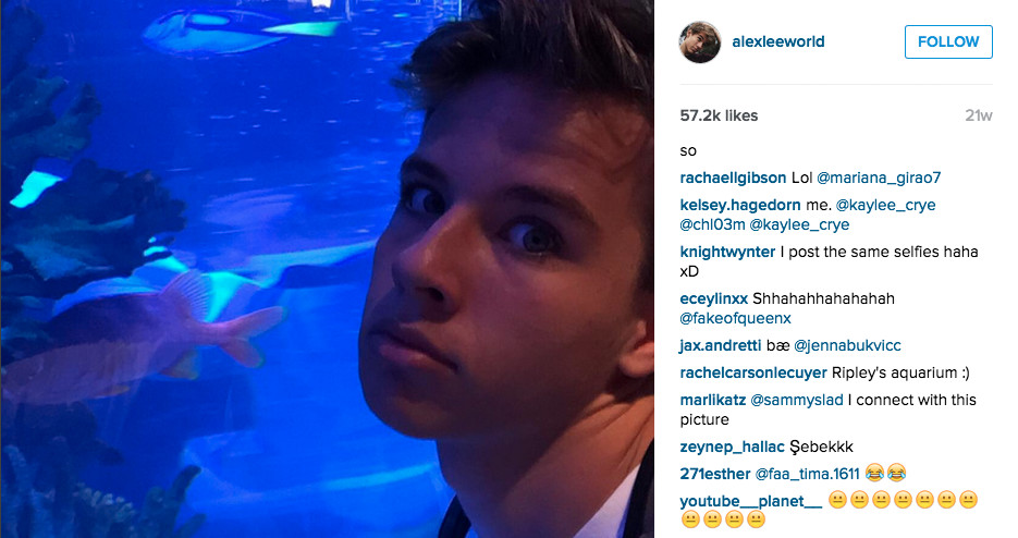 Alex from Target shares a photo of him at an aquarium
