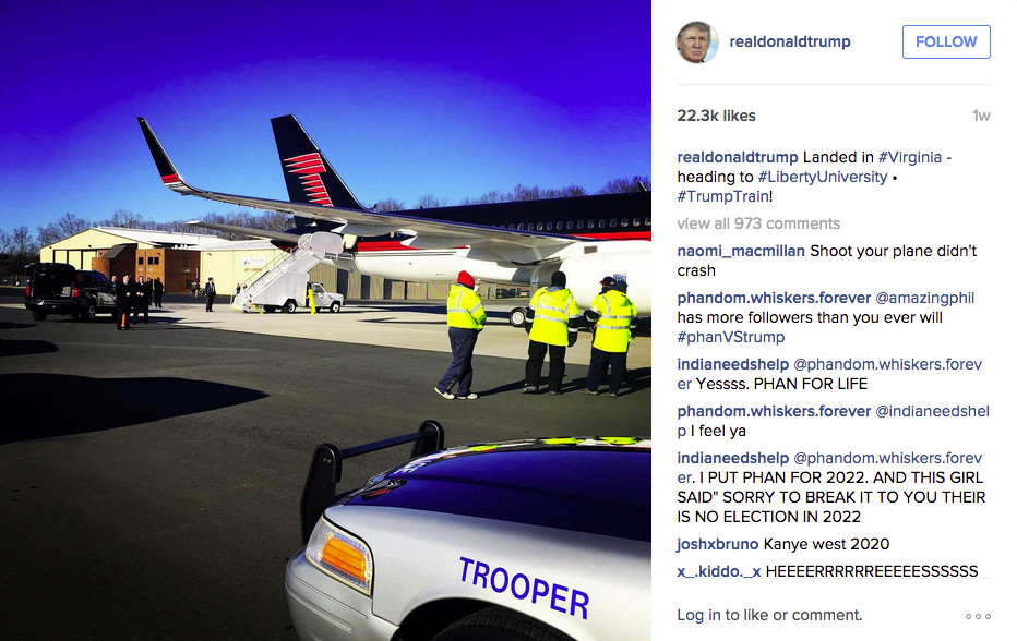 Donald trump lo fi post showing private jet and police car