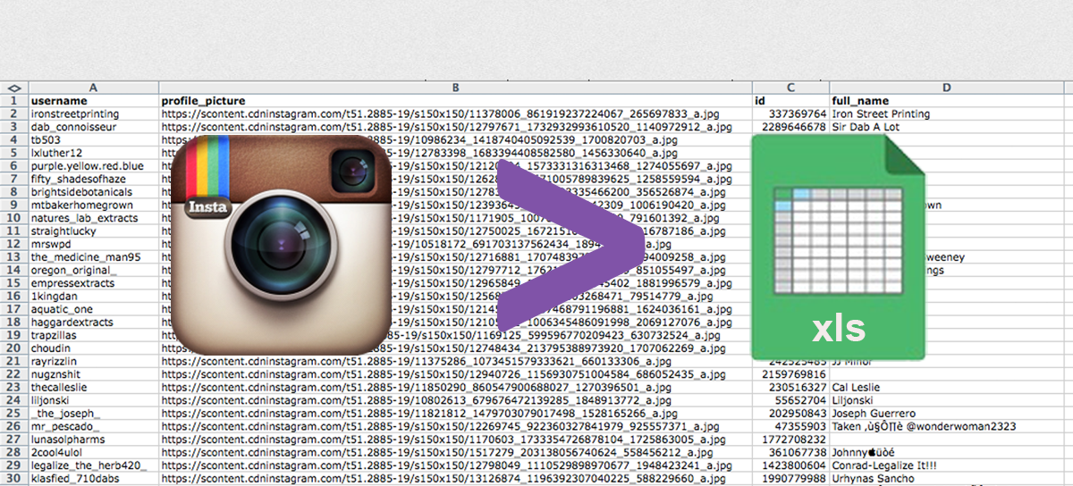 Export your Instagram Followers to Excel or CSV
