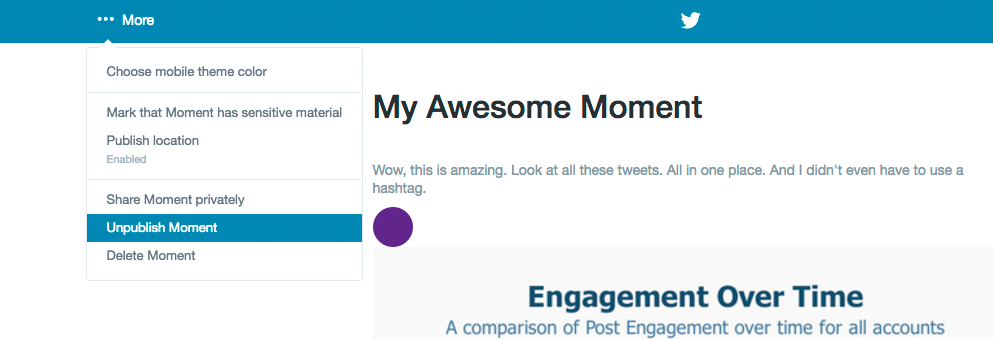 How to create a Twitter moment delete unpublish screencap from the More menu