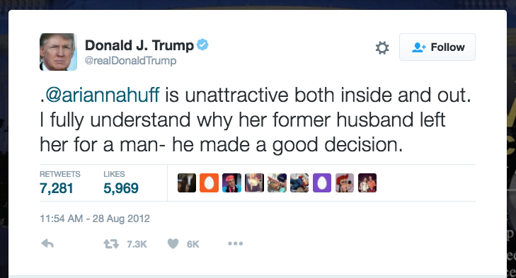 Donald Trump Arianna Huffington Tweet