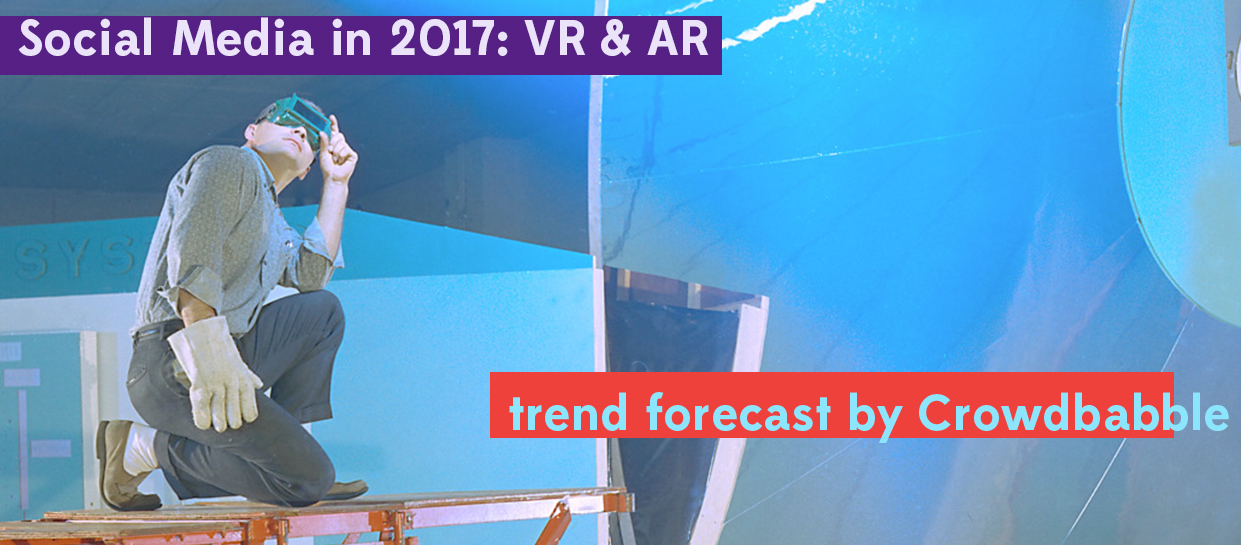 Social media marketing trends in 2017 vr and ar feature image with a NASA worker wearing goggles and big gloves in a reflective room