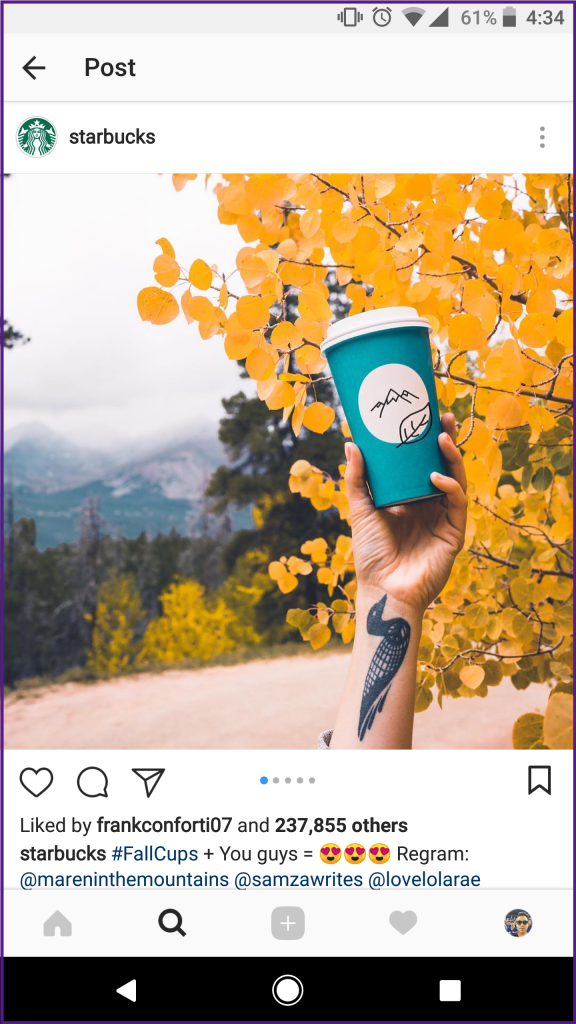 Instagram content post landscape
